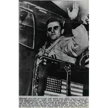 1951 Wire Photo Charles Blair waving from cockpit of his P-51 Mustang