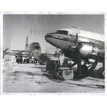 1956 Press Photo Heaters are applied to engine plane - RRR32927