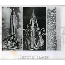 1958 Press Photo U.S. satellite Atlas and Russian satellite Sputnik III