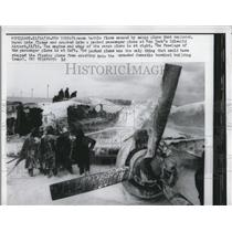 1958 Press Photo Firemen Battle Fire Caused By Exploded Cargo Plane At Idlewild