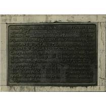 1919 Press Photo Bronze Tablet Near Mayflower Stone - nef39035