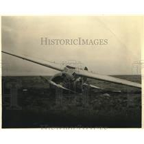 1936 Press Photo Jimmie Mattern's Old Cromwell Plane Down for the Last Time