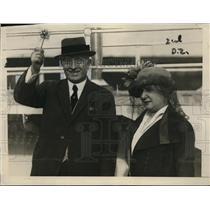 1921 Press Photo Ex Premier of France Rene Ciciani & wife leaving NYC