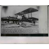 "1955 Wire Photo WWI-LT Cmdr Frank G. Tallman's Sopwith ""Camel"" fighter plane"