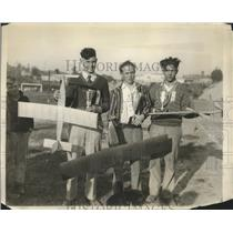 1929 Press Photo Youngsters Bring Model Planes at Dedication of New Airport