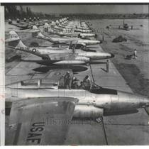 1951 Press Photo US Air Force Scorpion F-80 Planes in Ontario, Canada