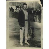 1922 Press Photo Henry Cochet French tennis player for Davis Cup play