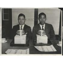 1930 Press Photo Seiji Yoshiwara & Zensaku Azuma Berlin-Tokyo & LA-Tokyo Pilots