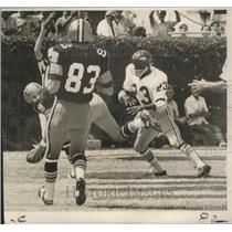 1969 Press Photo Saints Ray Poage Makes Shoestring Catch for Touchdown Pass