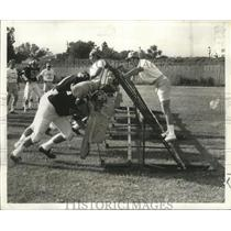 1969 Press Photo Saint Coach Tom Fears Urges Players on During Rookie Camp