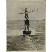 1932 Press Photo Water Boarders Performing Stunt from Behind Aquaplane.