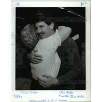 1987 Press Photo Chris Miller hugs his mother, Jane, after NFL draft - orc11407