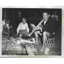 1951 Press Photo Laichau, Indochina Elder Smokes Bamboo Water Pipe - ftx02226