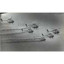 1974 Press Photo US Army's Silver Eagles helicopters over Mitchell Field