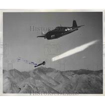 1948 Press Photo Navy Fighter Jet Launched a 'Tiny Tin' at Naval Test Station