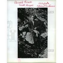 1910 Press Photo Forest Ranger Edward Pulask Perched on a Rock - spx17270