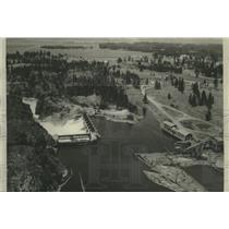 1934 Press Photo Post Falls dam on the north bank of the Spokane River