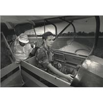 1992 Press Photo Marie Formaz checks the controls on the glider prior to takeoff
