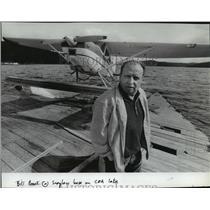 1984 Press Photo Bill Brook at seaplane base on Coeur d'Alene Lake - spa64970
