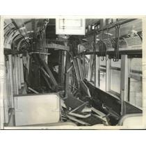 1941 Press Photo Interior of Chicago Elevated Train crashes into into its rear