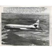 1960 Press Photo Scandinavian Airlines Caravelle Twin-Jet French Built Plane