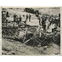 1935 Press Photo Dutch K.L.M. Air Liner Crashed & Burst Into Flames at Take Off