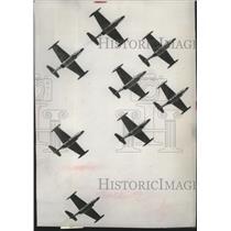 1952 Press Photo Formation Flight of Northrop F-89 Scorpion Jet Interceptors