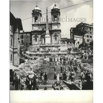 1962 Press Photo Rome's Spanish steps go from Santa Trinita Church to fountain.