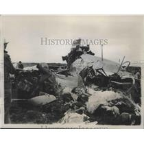 1941 Press Photo Wreckage of Army Bomber that Crashed on Wyoming Plane 6 Killed