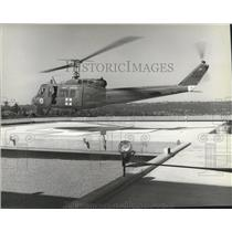 1981 Press Photo Helicopter landing at Deaconess Hospital - spa69767
