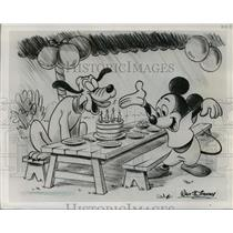 1951 Press Photo Mickey Mouse and Pluto Drawing - mjx28597