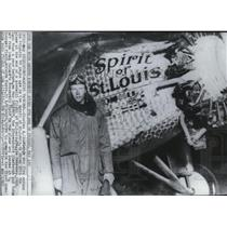 1967 Press Photo Charles Lindbergh and his plane the Spirit of St. Louis