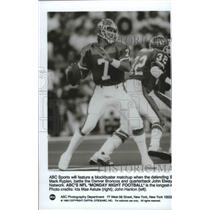 1992 Press Photo Denver Broncos football quarterback, John Elway in ABC Sports