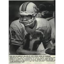 1975 Press Photo Miami Dolphins football quarterback, Bob Griese during practice