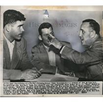 1949 Press Photo AJ Tony Morabito owner of 49ers,Capt Norm Standlee, Len Eshmont