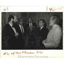 1989 Press Photo Japan Consulate Hideki Asahi with S. Bingler & M. Tourniaire
