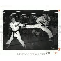 1988 Press Photo ATA Karate Connection - John Bostic and Vic Longo Sparring