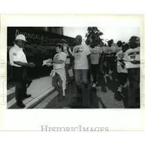 1994 Press Photo Avondale Shipyards - Metal Trades Union Members Demonstrate