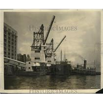 1928 Press Photo New York new hoisting system for coal unloading NYC