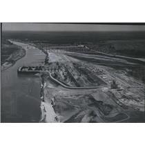 1966 Press Photo Alabama-Aerial view of Miller's Ferry Dam construction.