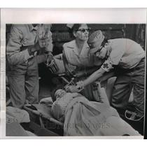 1963 Press Photo Cuban Refugee Loaded onto Freighter Shirley Lykes - mja91479