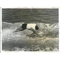 1963 Press Photo Nancy Schnering Water Skiing Dive fall