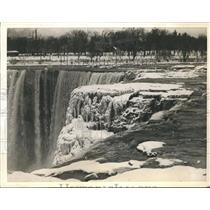 1936 Press Photo Frozen black jam the Niagara River hindering the flow of water