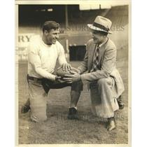 1936 Press Photo Madison Bell, John Sprague plotting the gridiron battle
