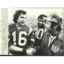 1975 Press Photo Rams football's Ron Jaworski, Ken Meyers, Lawrence McCutcheon