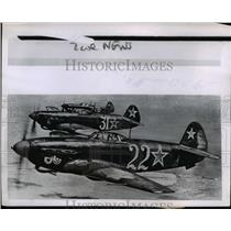 1950 Press Photo Soviet made Yak 9 airplanes used by North Koreans - nem39915