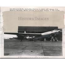 1949 Press Photo Ft Worth Texas a B-36 leaves assembly building to be towed