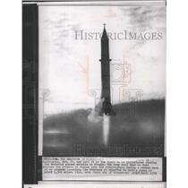 1956 Press Photo Redstone Guided Missile rising into stratsphere during a test