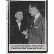1954 Press Photo Philadelphia A's baseball's Earle Mack talk with Arnold Johnson