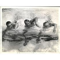 1938 Press Photo Ed Kirar, Tom Hayie,Charles Hutter in Annual Aquatic Show.